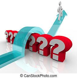 sur, question, réponses, sauter, marques, curieux, découvertes, homme