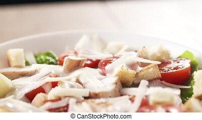sur, râpé, salade, peu, césar, parmesan, tomber, mouvement, ...