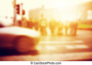 sur, road., gens, voiture, croix, rue.