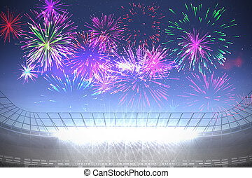 sur, s, football, exploser, feux artifice