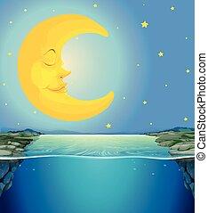 sur, scène, lune, étoiles, nuit, rivière