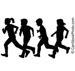 sur, silhouettes, courant, fond, blanc, enfants