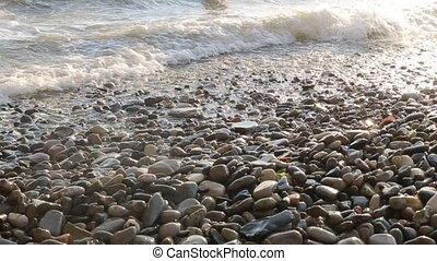 sur, soleil, recede, haut, doucement, laver, vagues, setting., plage