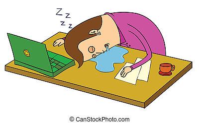 sur, sommeil, bureau
