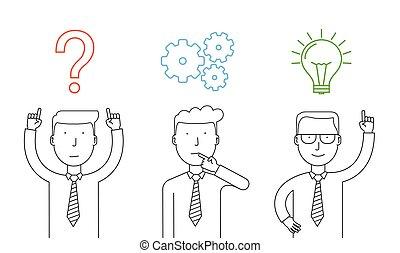 sur, success., business, thinking., pensée, atteindre, homme affaires