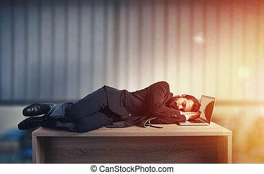 sur, surmenage, dû, bureau, homme affaires, dormir