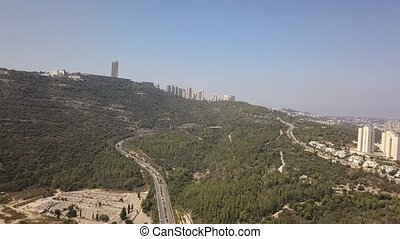 sur, suspension, haifa., vol, ville, arbres, park., ponts, vert