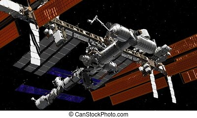 sur, tournant, iss, espace, orbiter, earth., international, terres, atmosphere., animation., station, 3d