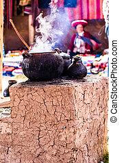 sur, tradicional, perú, america., aldea