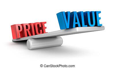 sur, valeur, blanc, échelle, coût, mot, concept, 3d
