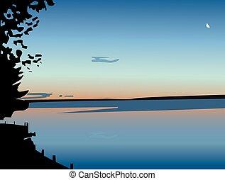 sur, vecteur, coucher soleil, lac