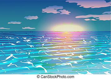 sur, vecteur, océan coucher soleil