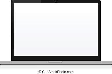 sur, vide, ordinateur cahier, illustration, bureau, écran