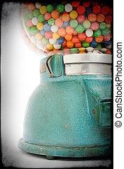 sur, vieux, gommer machine, vente, mastication, 1950, grunge