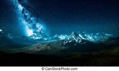 sur, voie lactée, crêtes, montagne