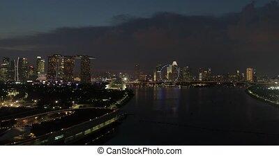 sur, vol nuit, rivière, singapour