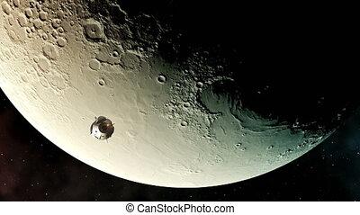 sur, vol, vaisseau spatial, fond, commercial, 4k., moon.