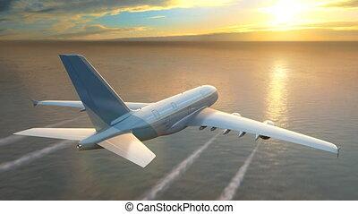 sur, voler, coucher soleil, mer, avion, loop-ready