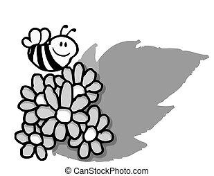 sur, voler, fleurs, abeille