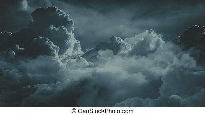 sur, voler, nuages, nuit