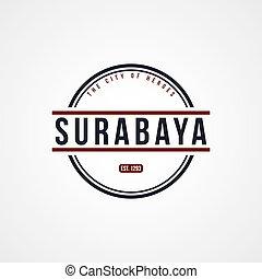surabaya, indonesia, insignia, tema, etiqueta