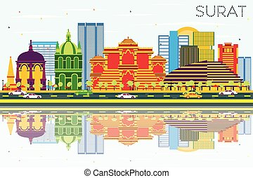 Surat Skyline with Color Buildings, Blue Sky and...