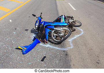 SURATTHANI - JULY 18 : Motorcycle accident on the road and crash