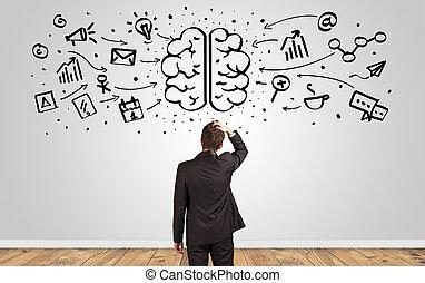 surchargé, cerveau, mur, directeur, regarder, concept