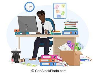 surcharge, réunion, paperasserie, jeune, fatigué, illustration., rapport, mâle, tard, accablé, somnolent, africaine, travail, noir, homme affaires, bureau, workplace., ouvrier, américain, reste, date limite, vecteur
