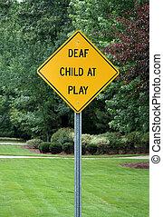surdo, criança, jogo, sinal