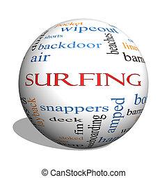 surf, 3d, esfera, palabra, nube, concepto