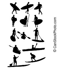 Surf and Canoe Silhouettes, art vector design