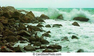 Surf and rocks. Thailand, Phuket