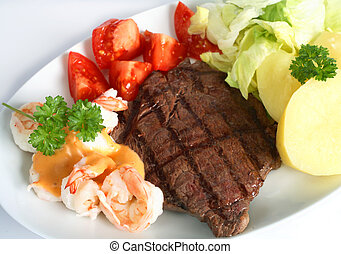"""Surf and turf meal - A \\\""""surf and turf\\\"""" meal of rump..."""