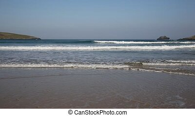 Surf and waves Crantock Cornwall uk