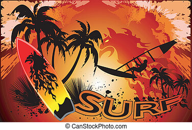 surf background with surfers