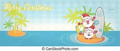 surf., bandeira, caricatura, ilha, claus, santa, divertimento