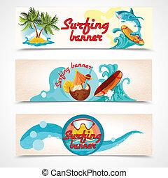 surf, banderas, conjunto