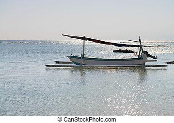 surf, blu, indonesiano, luce, indietro, tradizionale, mare, sole, barca