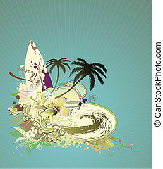 Surf Board - Vector illustration of summer composition with...