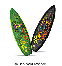 illustration of colorful doodle on surf board on white background