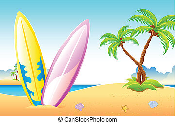 Surf Board on Sea Beach - illustration of surf boards on sea...