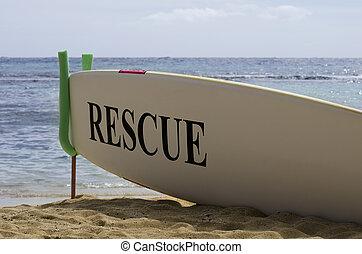 Surf Board Safety Concept on Hawaiian Sandy Beach