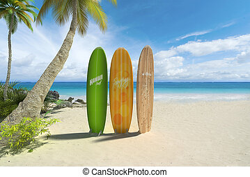 Surf boards on the beach - 3D rendering of three colorful...