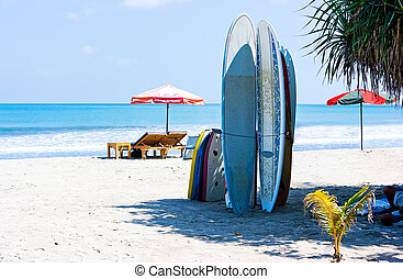 Surf boards - Surfing boards standing on the sand beach
