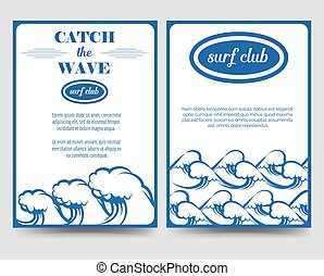 Surf brochure flyer template with waves