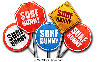 surf bunny, 3D rendering, street signs