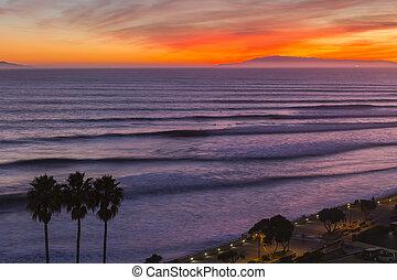 surf, california, ventura, tramonto, serie