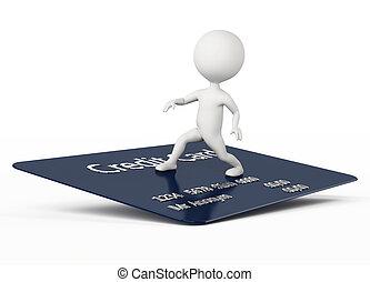 surf, carácter, humanoide, tarjeta de crédito, 3d