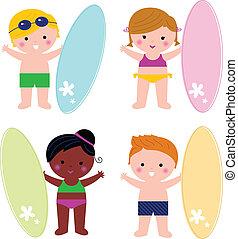 surf, carino, poco, bambini, estate, isolato, set, bianco